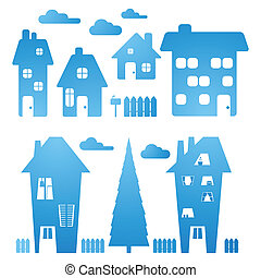 błękitny, domy, komplet