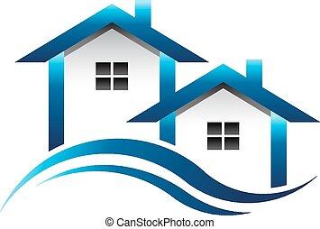 błękitny, domy, nieruchomość, logo