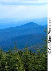 błękitny, dymny, grzbiet, góry