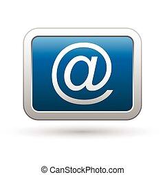 błękitny, e, ikona, poczta, guzik