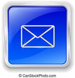 błękitny, e-poczta, guzik, ikona