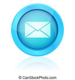 błękitny, e-poczta, guzik, wektor