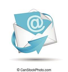 błękitny, e-poczta, koperta, strzała