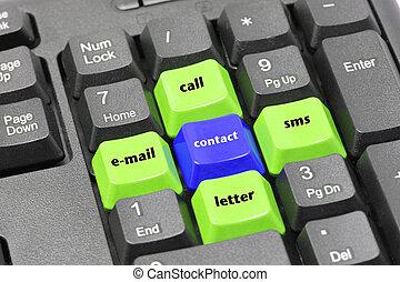 błękitny, email, słowo, guzik, sms, rozmowa telefoniczna, czarnoskóry, klawiatura, kontakt, zielony, litera
