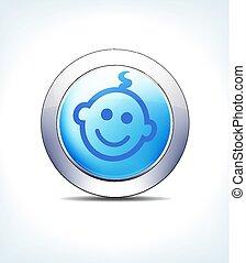 błękitny, farmaceutyczny, &, dziecko, guzik, healthcare, ikona, blady, symbol