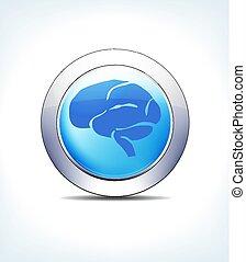 błękitny, farmaceutyczny, &, guzik, mózg, healthcare, ikona, blady, symbol