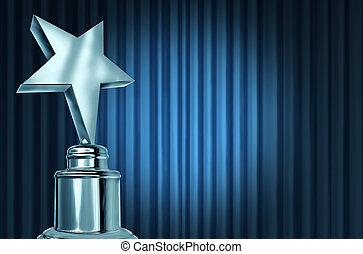 błękitny, firanki, gwiazda, srebro, nagroda