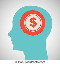 błękitny, głowa, sylwetka, pieniądze, dolar, projektować, ikona