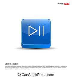 błękitny, gra, pauza, guzik, -, 3d, ikona