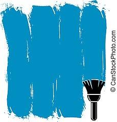 błękitny, grunge, illustration., stworzony, ściana, brushstrokes, wektor, próbki, konceptualny, paintbrush., akrobatyczne malarstwo