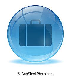 błękitny, handlowy, abstrakcyjny, torba, 3d, ikona