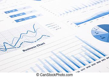 błękitny, handlowy, wykresy, informuje, wykresy, statystyczny