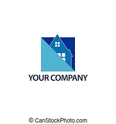błękitny, house., format, dom, abstrakcyjny, -, ilustracja, wektor, logo
