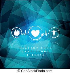 błękitny, ikony, jasny, zdrowie, tło, geometryczny