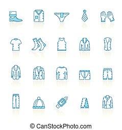 błękitny, ikony, tło, kreska, odzież, człowiek