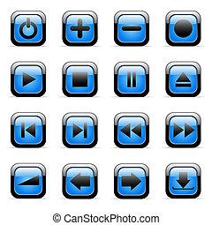 błękitny, ikony
