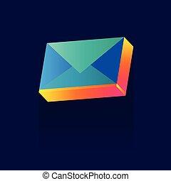 błękitny, illustration., abstrakcyjny, koperta, symbol., color., wektor, tło, poczta, icon., logo., concept.