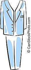 błękitny, ilustracja, garnitur, tło., wektor, biały, człowiek