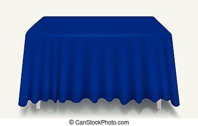 błękitny, isolated., prostokątny, wektor, stół, tablecloth, opróżniać