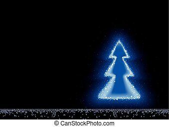 błękitny, jarzący się, drzewo, boże narodzenie