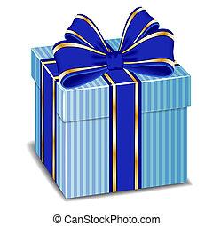 błękitny jedwab, dar, wektor, łuk, boks