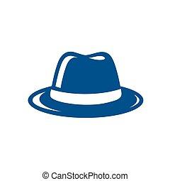 błękitny kapelusz, fedora, ilustracja