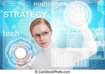 błękitny, kobieta handlowa, biuro, nowoczesny, faktyczny, pikolak, interfejs, przyszłość, tło, przeć