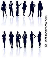 błękitny, kobieta handlowa, gallery., wektor, ciemny, sylwetka, komplet, reflections., mój, więcej