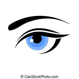 błękitny, kobieta przypatrują się
