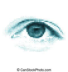 błękitny, kolor, eps, ludzki, cyfrowy, 8, eye.