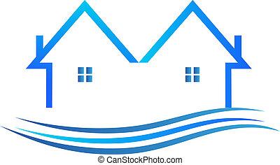 błękitny, kolor, wektor, logo, domy