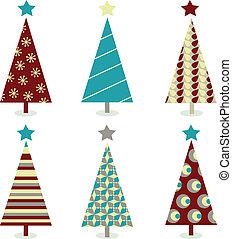 błękitny, komplet, drzewo, –, boże narodzenie, czerwony, ikona