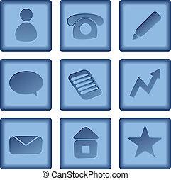 błękitny, komplet, handlowe ikony, odizolowany, pikolak, tło., wektor, biały