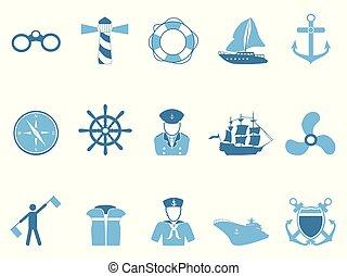błękitny, komplet, nawigacja, ikony