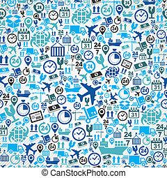 błękitny, komplet, próbka, seamless, okrętowy, tło., logistyka, ikona