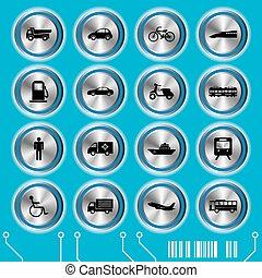 błękitny, komplet, przewóz, ikony