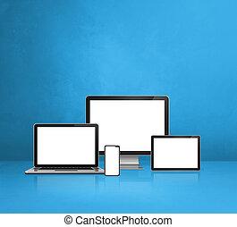 błękitny, komputer, ruchomy, pc., tło, tabliczka, laptop, telefon, cyfrowy