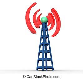 błękitny, komunikacja, radiowy, tło, biała wieża, 3d