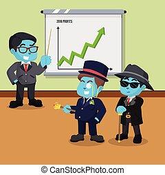 błękitny, korzyść, lata, to, przedstawiając, biznesmen