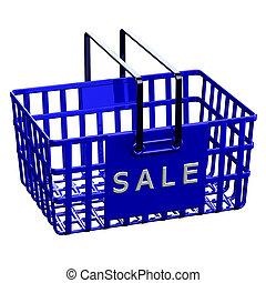 błękitny, kosz, zakupy, sprzedaż, słowo