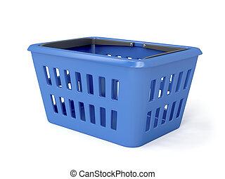błękitny, kosz, zakupy