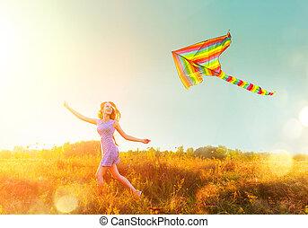 błękitny, krótki, barwny, piękno, na, przelotny, niebo, wyścigi, dziewczyna, strój, jasny, kania