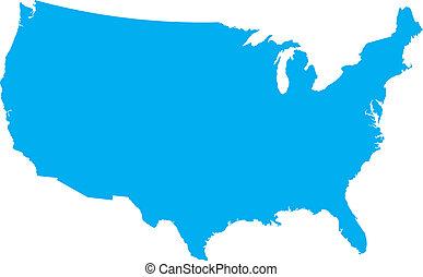 błękitny, kraj, usa, mapa