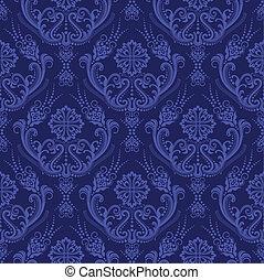 błękitny, kwiatowy, tapeta, luksus, adamaszek