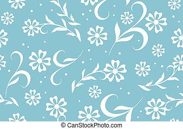 błękitny, kwiatowy, wektor, seamless, próbka
