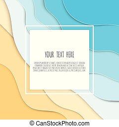 błękitny, lato, cięty, chorągiew, sieć, afisz, abstrakcyjny, przestrzeń, tło, umiejscawiać, tekst, zaproszenie, papier, wektor, morze, illustration., design., plaża, albo, waves., styl