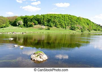 błękitny, lato, nature., rzeka