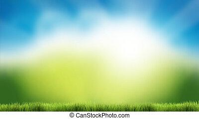 błękitny, lato, render, natura, wiosna, niebo, zielone tło, trawa, 3d