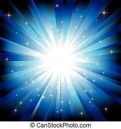 błękitny lekki, gwiazdy, iskrzasty, pękać