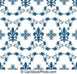błękitny, lilia, królewski, seamless, struktura, wektor